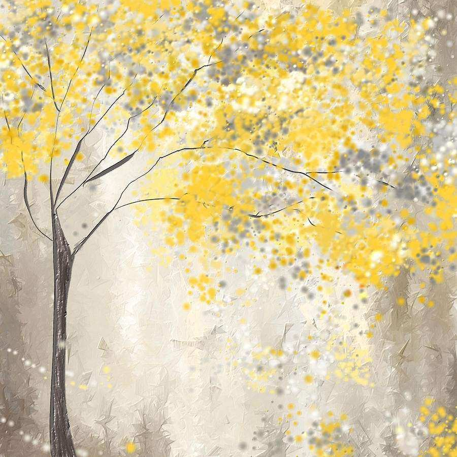 Gray and Yellow Wall Decor Beautiful Yellow and Gray Tree Painting by Lourry Legarde