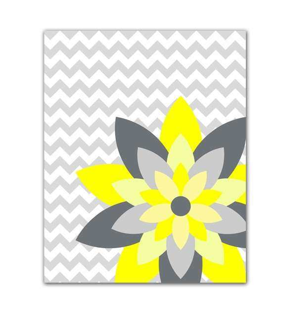 Yellow and Gray Flower Burst Wall Art Chevron Botanical