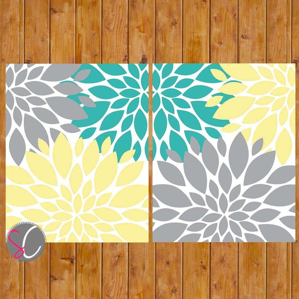 Floral Flower Burst Gray Yellow Teal Wall Baby Decor Bedroom