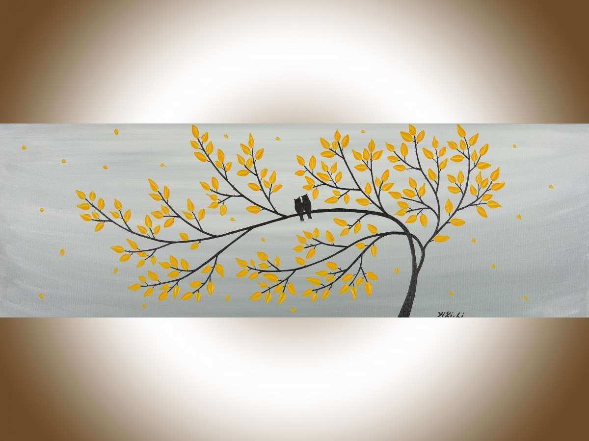 "Gray and Yellow Wall Decor Lovely Gentle Breeze by Qiqigallery 36"" X 12"" original Modern"