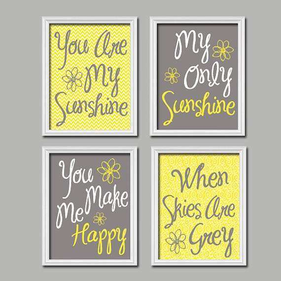 Yellow Gray You Are My Sunshine Wall Art CANVAS or by