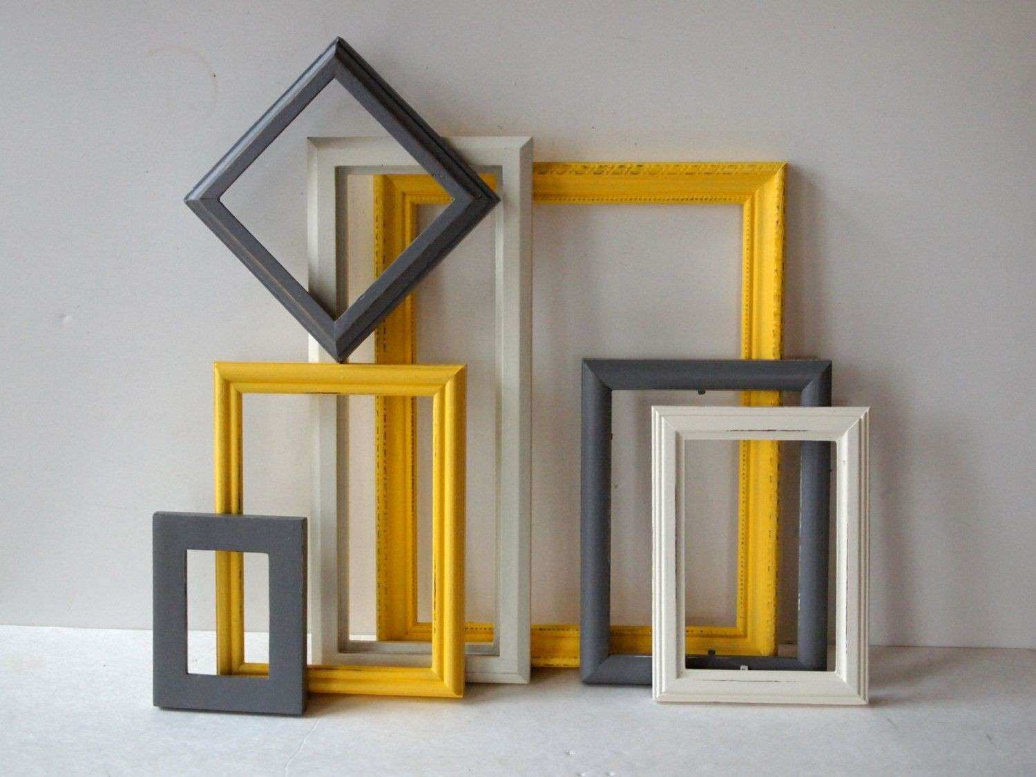 Picture Frames Vintage Wood Painted White Yellow And Grey