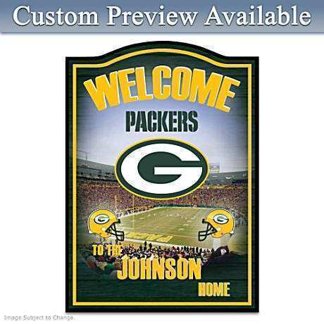NFL Green Bay Packers Personalized Wel e Sign Wall Decor