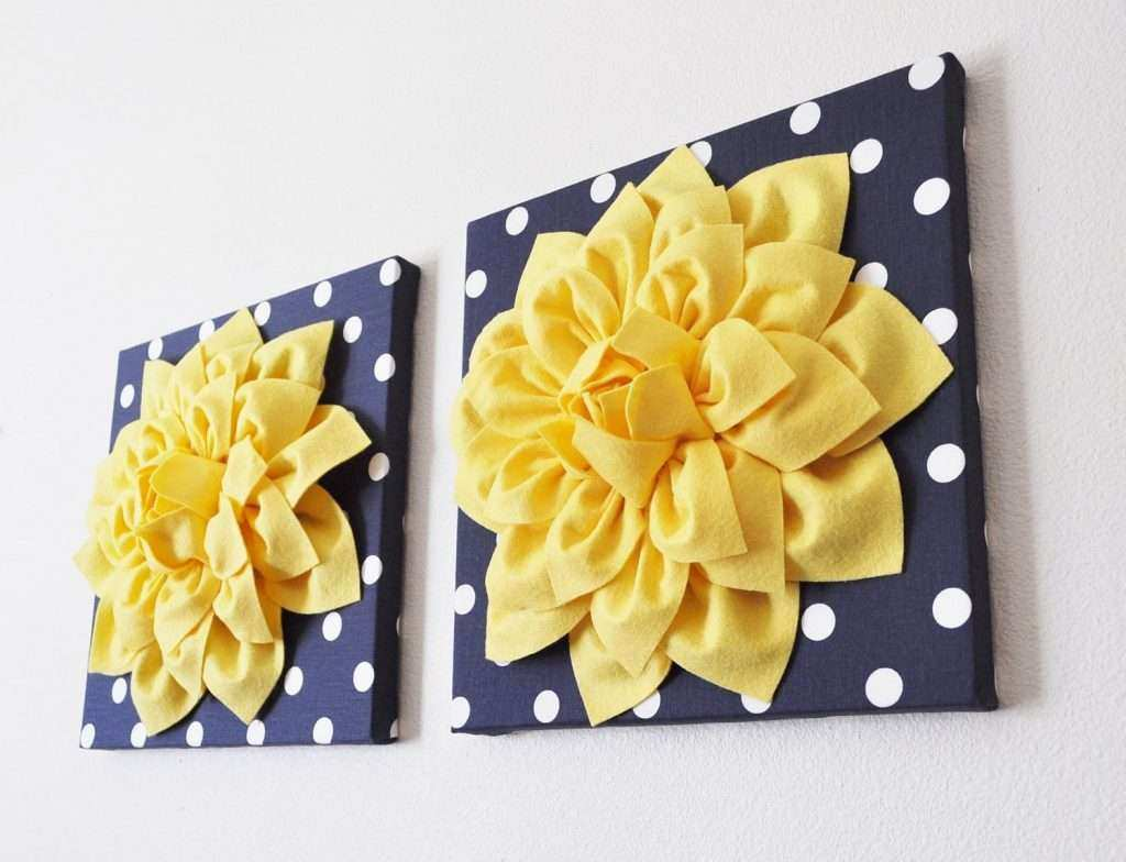 Grey and Blue Wall Art Awesome Navy Wall Decor Yellow Dahlia On Navy ...