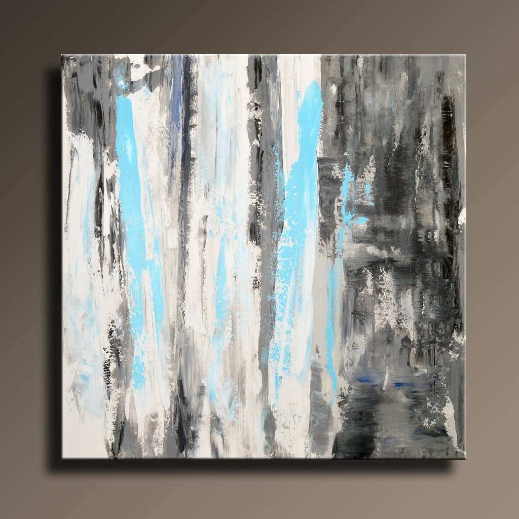 36 ORIGINAL ABSTRACT White Gray Blue Black Painting on
