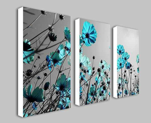 Grey And Teal Wall Art Awesome Teal Flowers Floral Split Panel Deep