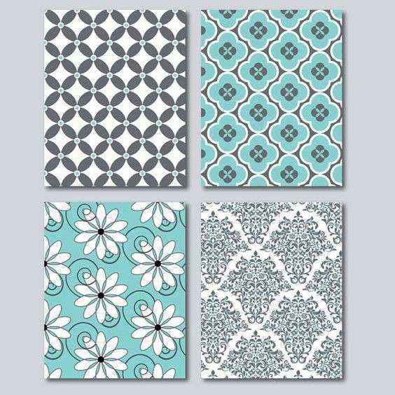 Teal and Grey Home Decor Wall Art Digital by