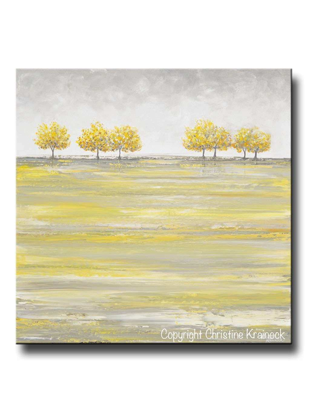 Grey and White Wall Art Lovely original Art Abstract Painting Yellow ...