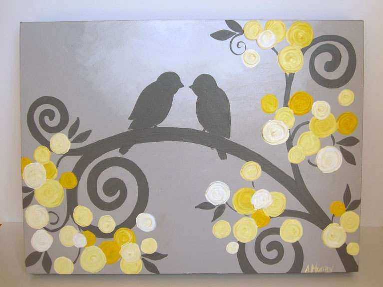 Kids Wall Art Yellow and Grey Textured Birds by