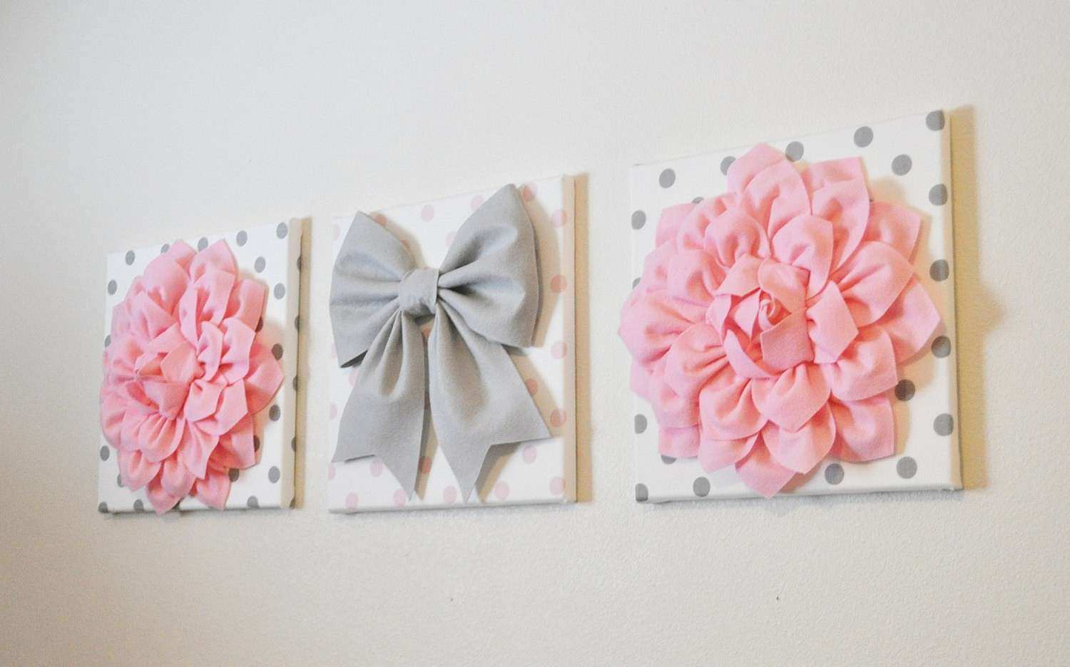 Pink White & Gray Wall Decor Baby Nursery Wall Art
