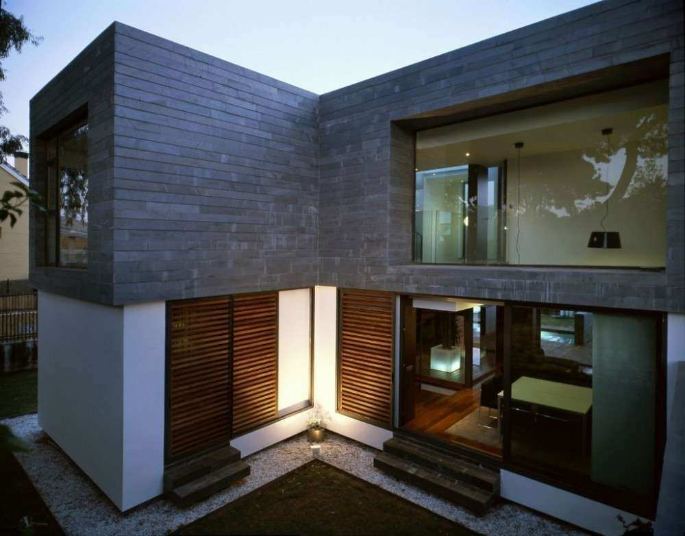 Modern Grey And White Wall House Modern Exterior With Wood
