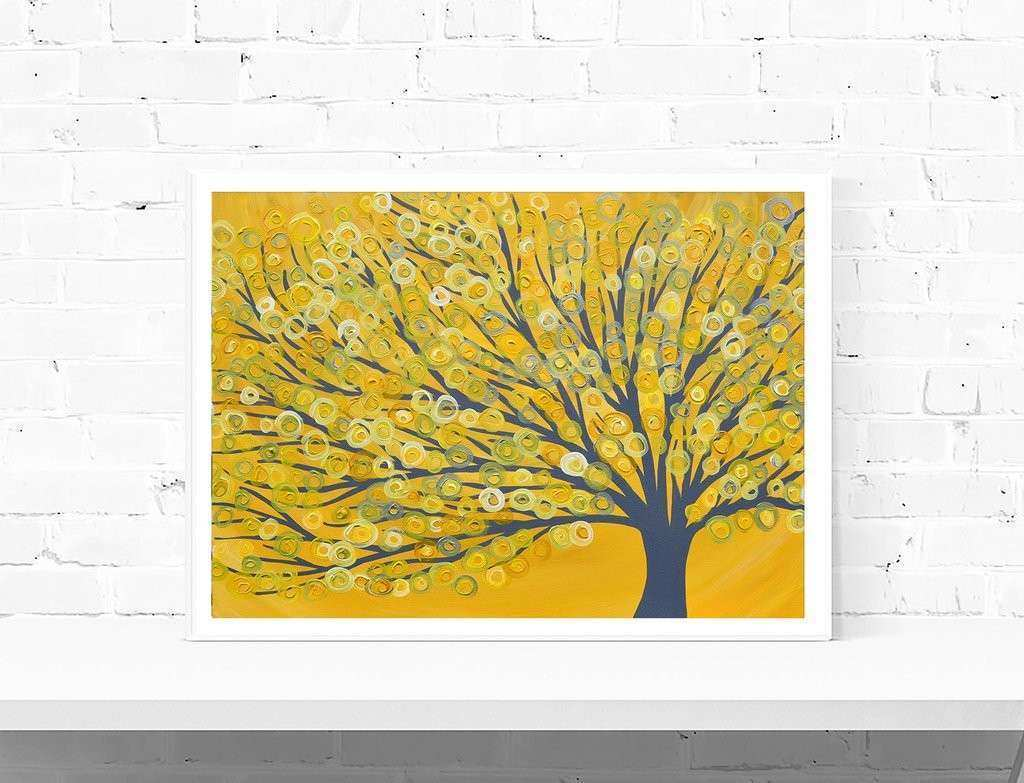 Yellow & Grey Abstract Tree Print from Original Painting