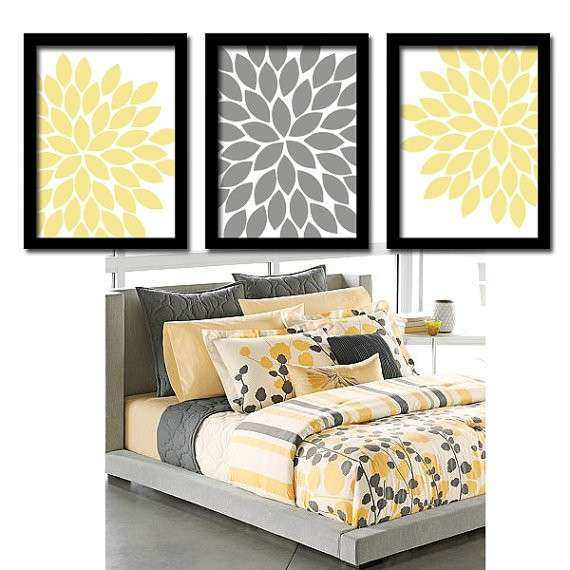 Yellow Gray Wall Art Bedroom Canvas or Prints by TRMdesign