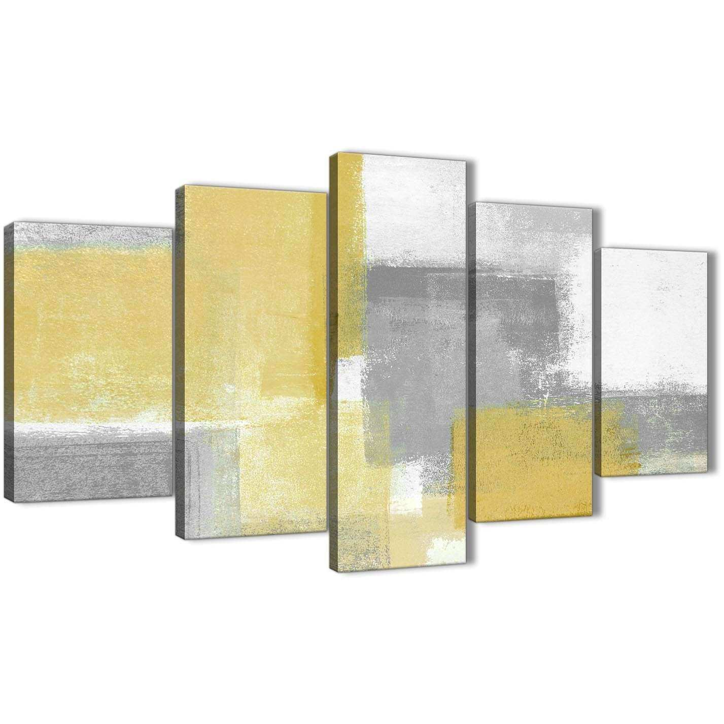 Grey and Yellow Wall Art Inspirational 5 Piece Mustard Yellow Grey ...