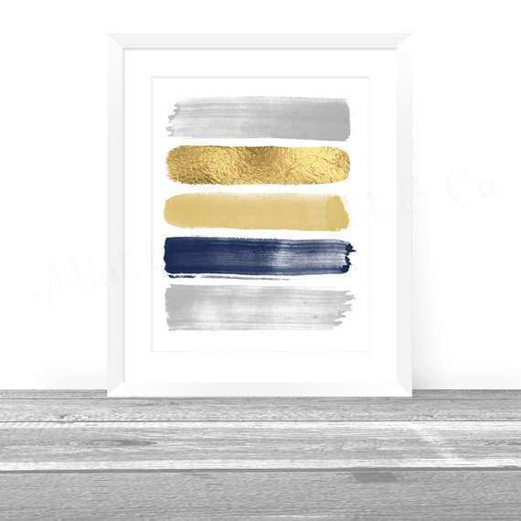 Grey Wall Decor Fresh Abstract Art Print Paint Strokes Gold Navy Gray Abstract