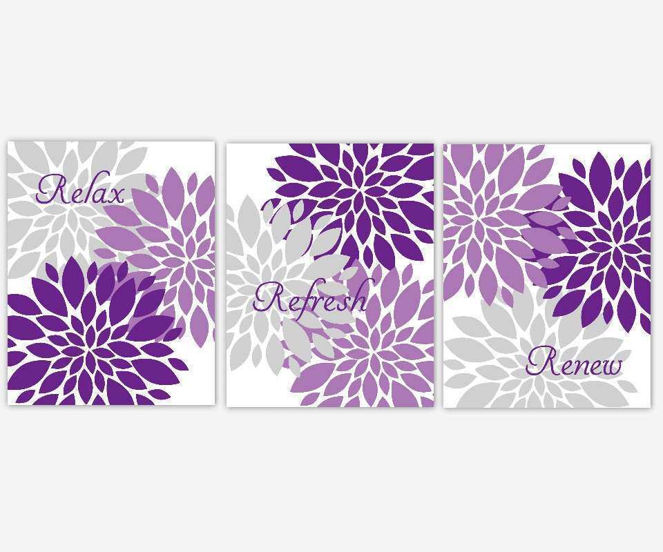 Bath Wall Art Lavender Purple Gray Spa Bath Flower Burst