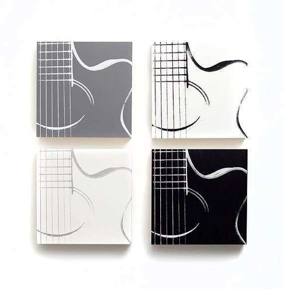 Music Wall Art Set of 4 Acoustic Guitar by iNKthePRINT on