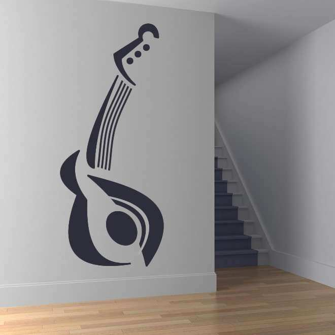 Guitar Twisted Musical Instruments Music Wall Stickers