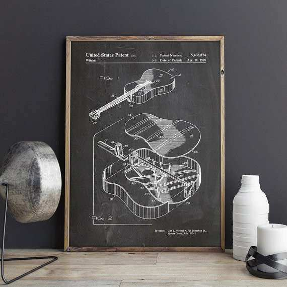 Martin Guitar Patent Poster Guitar Wall Decor Acoustic