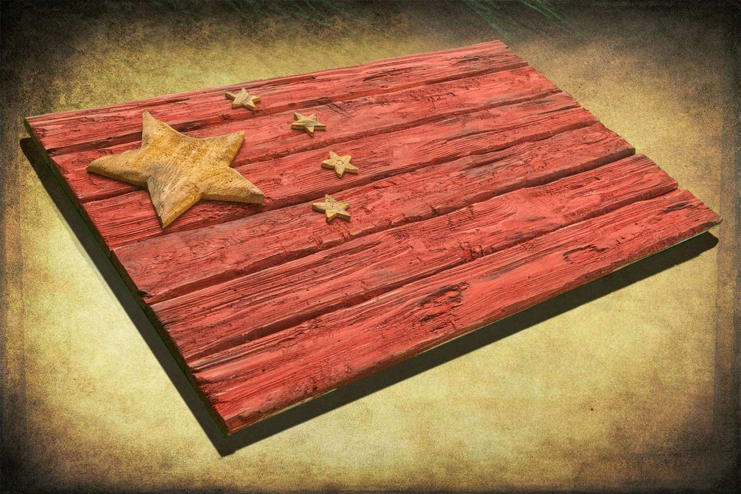 Handmade Distressed Wooden Chinese Flag vintage art