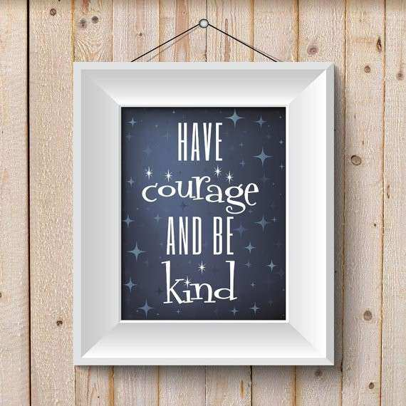 Have Courage and Be Kind sparkles Wall Art Decor Kids