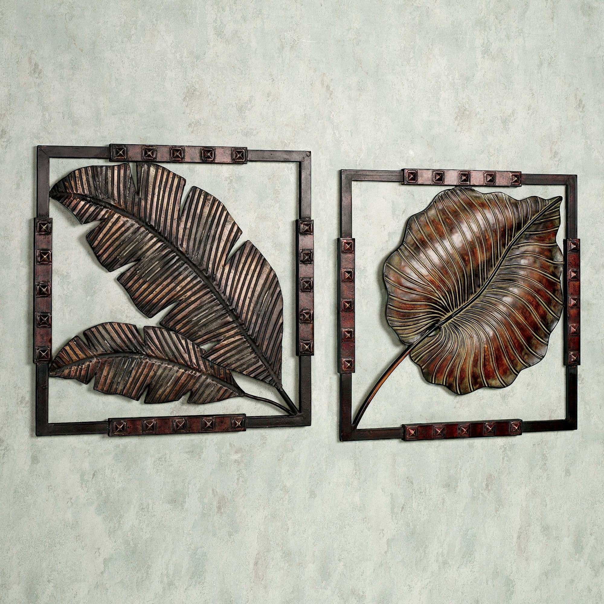 Wall Art Ideas Design Leaves Motifs Tropical Metal Wall