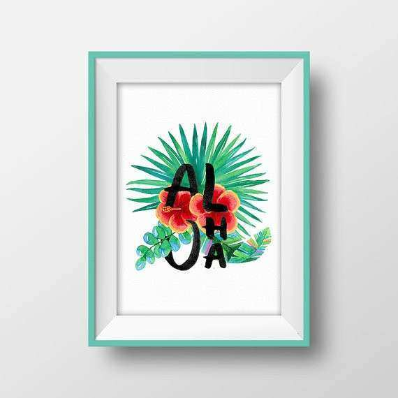 Aloha sign Hawaiian decor Palm leaf print Tropical printable