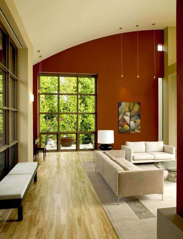 Earth tone accent walls living room contemporary with