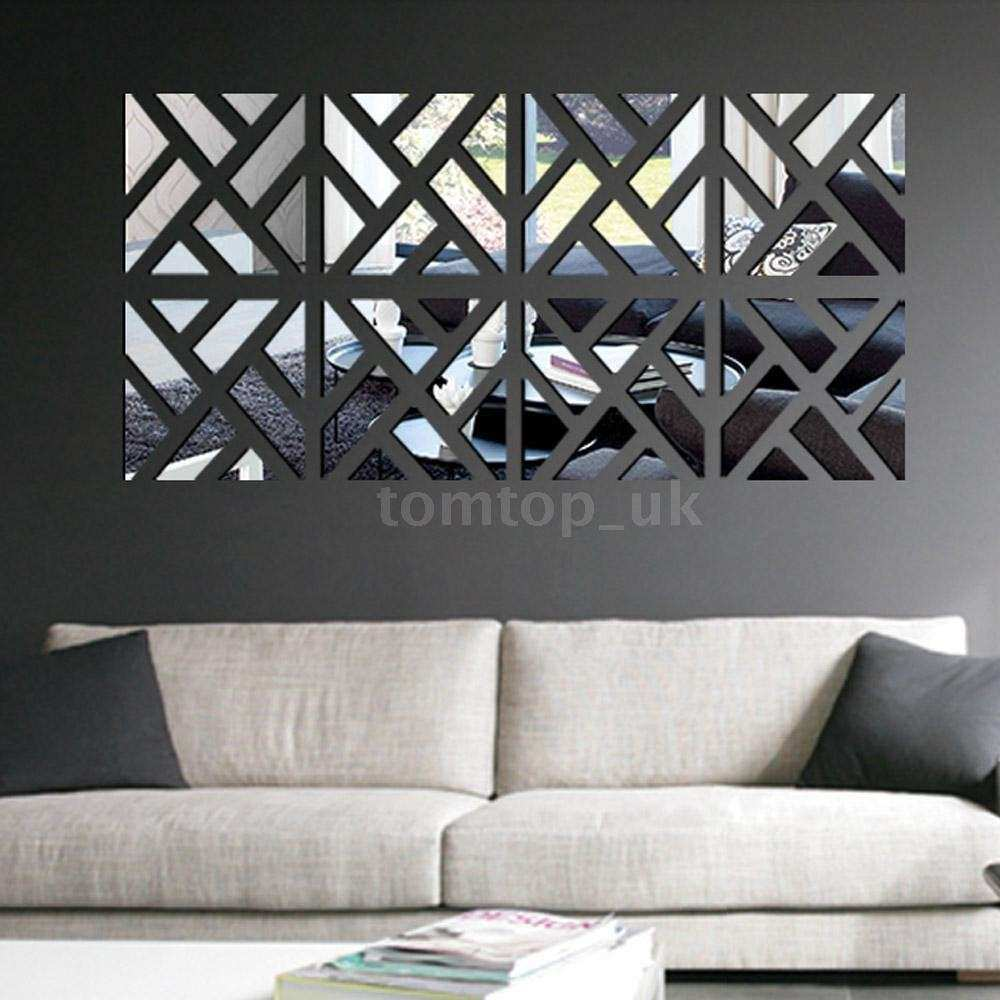 Home Decor Wall Mirrors Awesome Geometric Diy 3d Mirror Wall Decal Set Sticker Art Decals