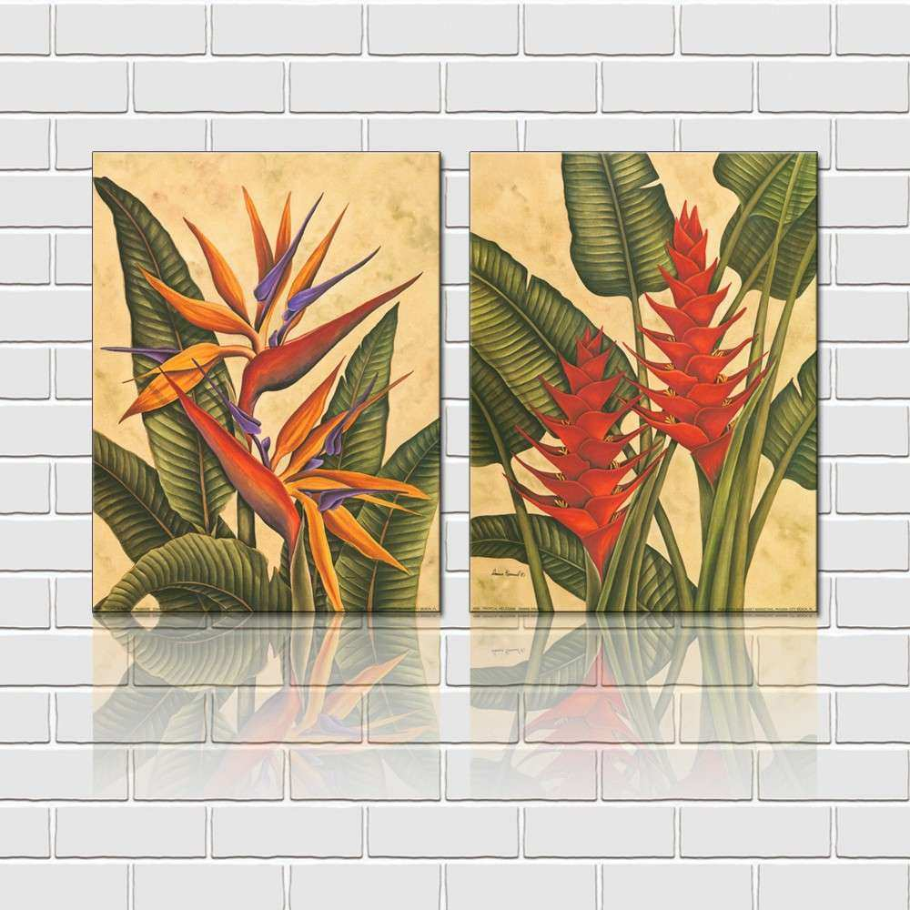 Free Shipping 2 Pieces Wall Art Set Tropical Flowers