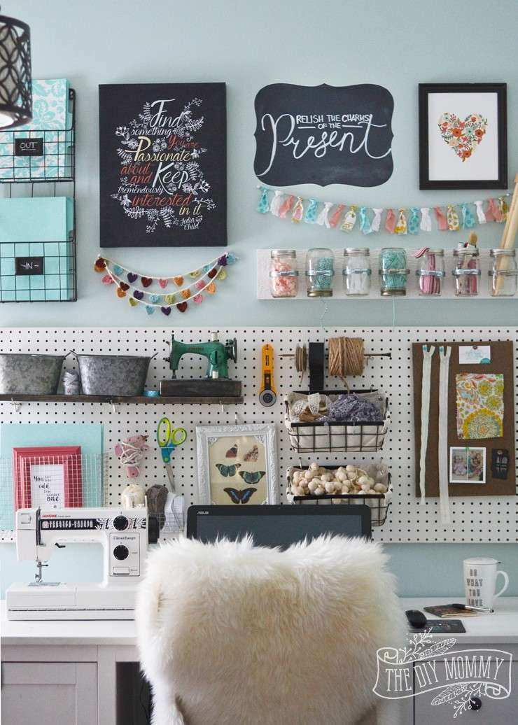 A Craft Room fice Pegboard Gallery Wall With Video Tour