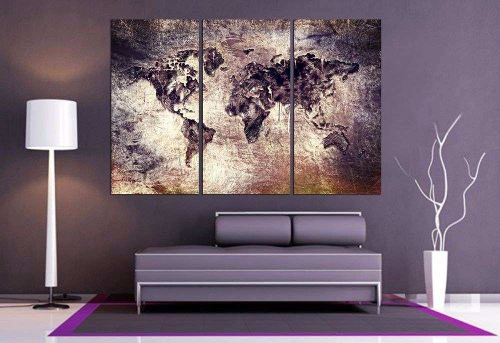 Home office wall decor lovely world map canvas print 3 panel split home office wall decor lovely world map canvas print 3 panel split art triptych for gumiabroncs Image collections