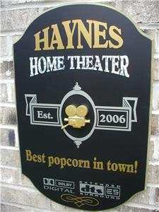 Personalized Custom US Made 3D Wood Signs Home theater