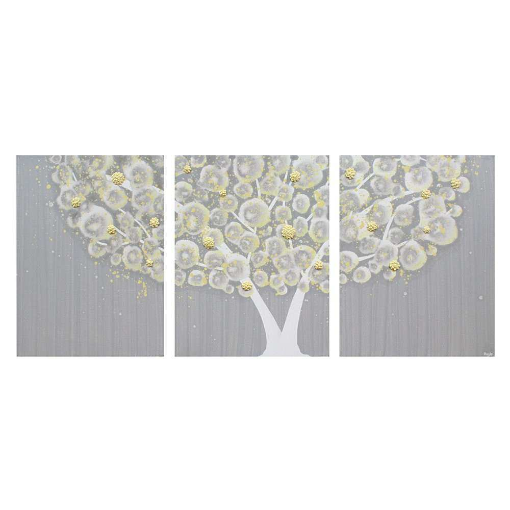 Wall Art Design Ideas Three Separated Canvas Yellow And