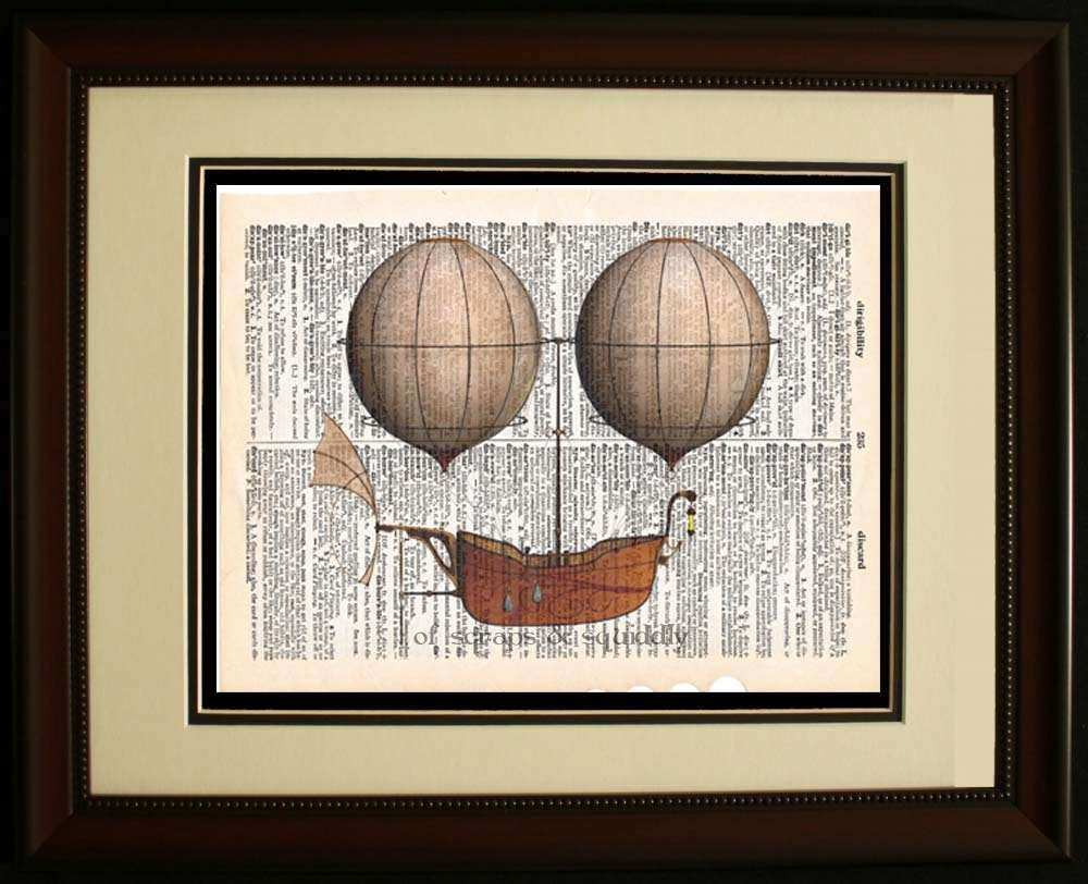 Steampunk Vintage Dictionary Wall Art Hot Air Balloon Airship