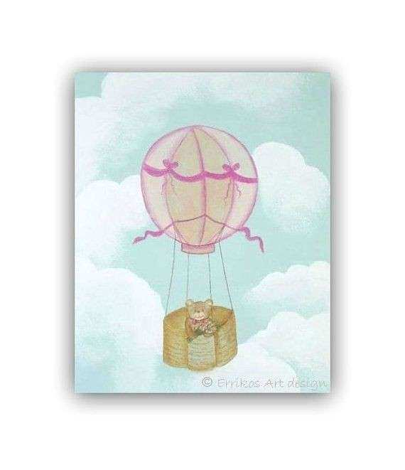 Teddy bear nursery Wall Art Hot Air Balloons Nursery