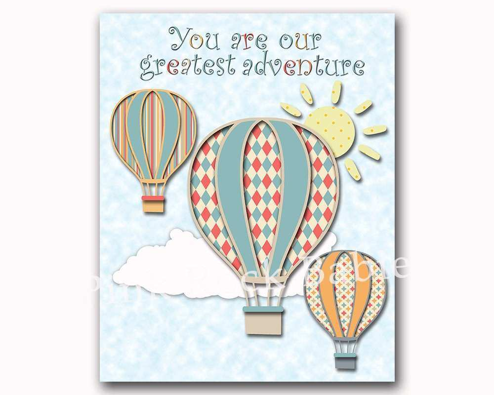 Hot air balloon nursery wall art baby boy room decor new born
