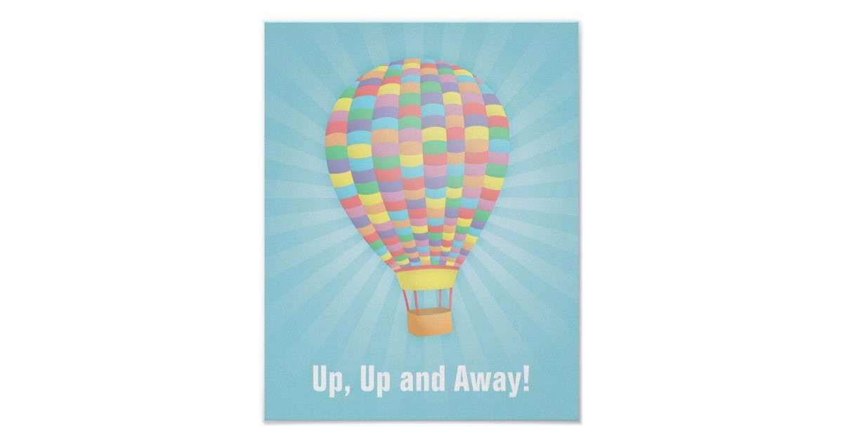 Rainbow Hot Air Balloon Wall Decor Poster
