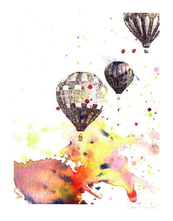 Hot Air Balloons Nursery Wall Decor From Original Watercolor