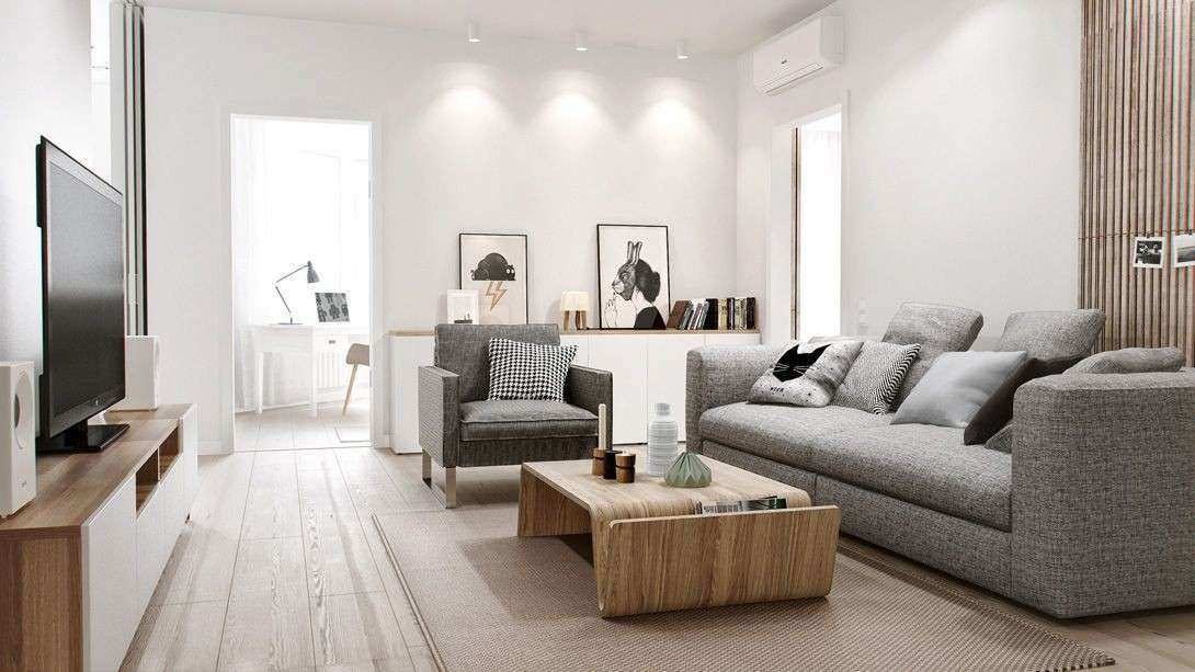 Home & Apartment Cool Grey Sofa Design With Modern Wood