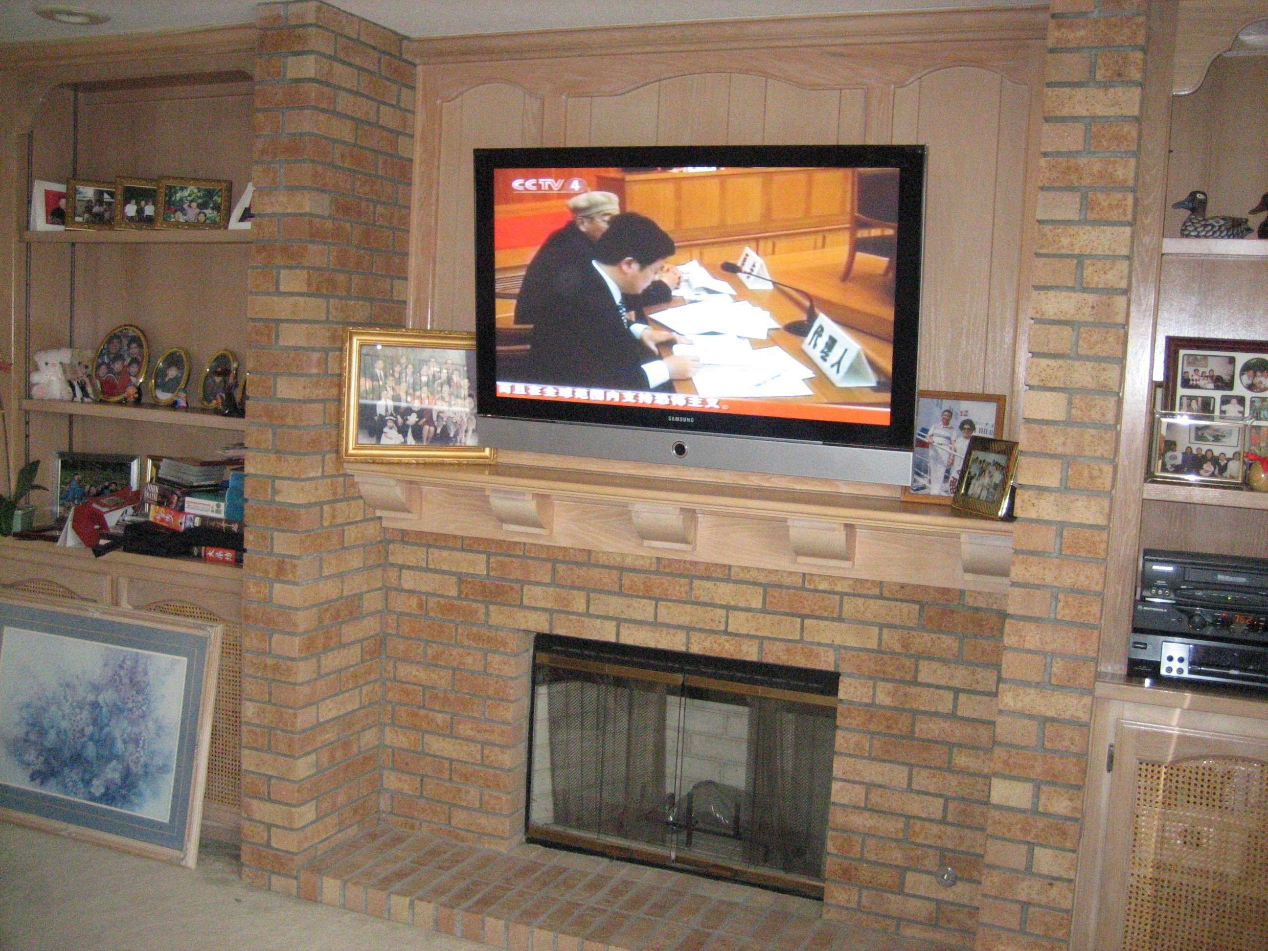 Interior Brick Wall Design Ideas With Mounting Tv Fireplace