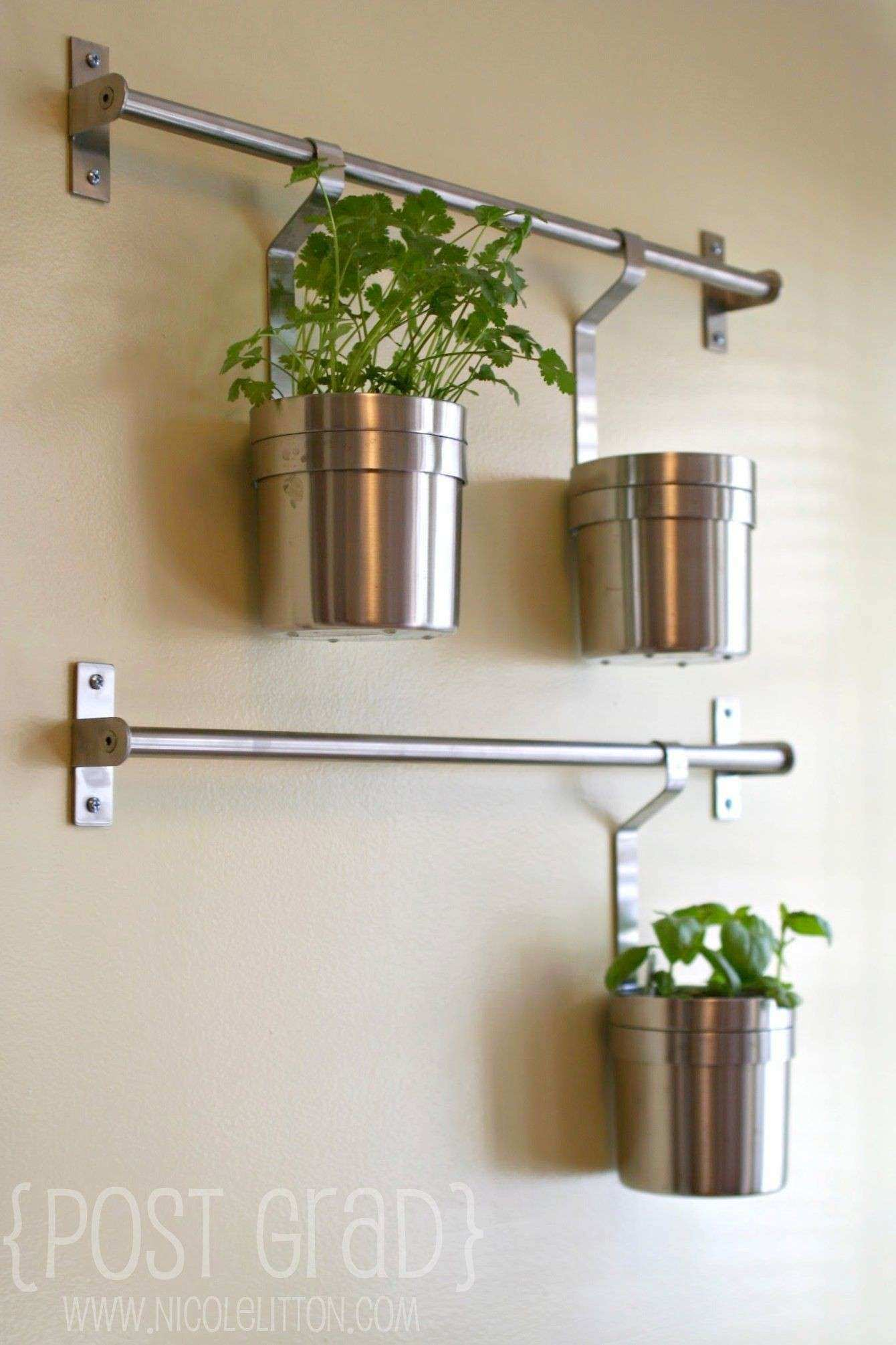 Hang plants in kitchen using IKEA GRUNDTAL Herb Wall