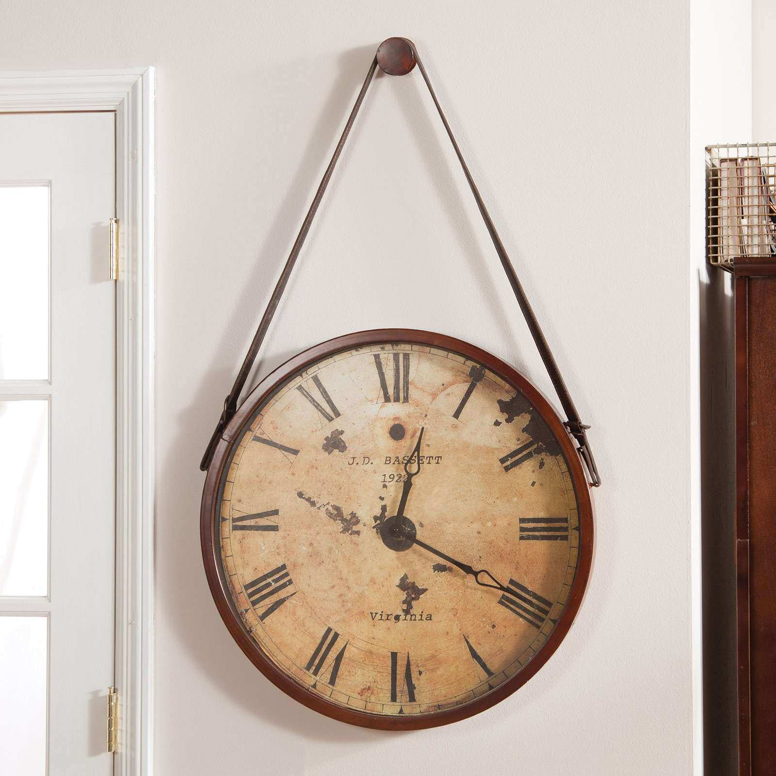 Hanging Decorative 24 in Wall Clock with Faux Leather Strap