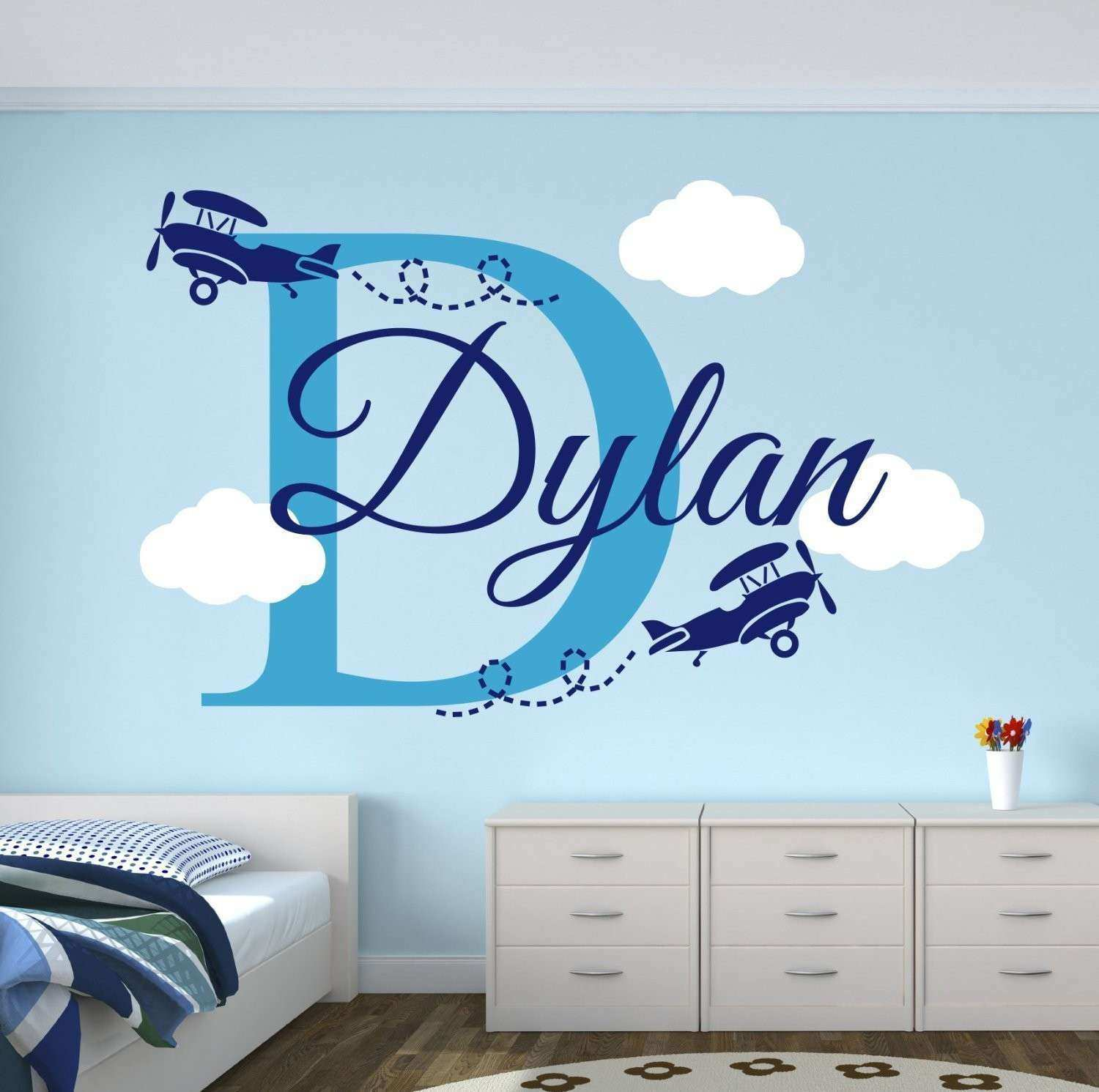 Custom Boys Name Airplane Clouds Decal Nursery Decor Kids Room Decor