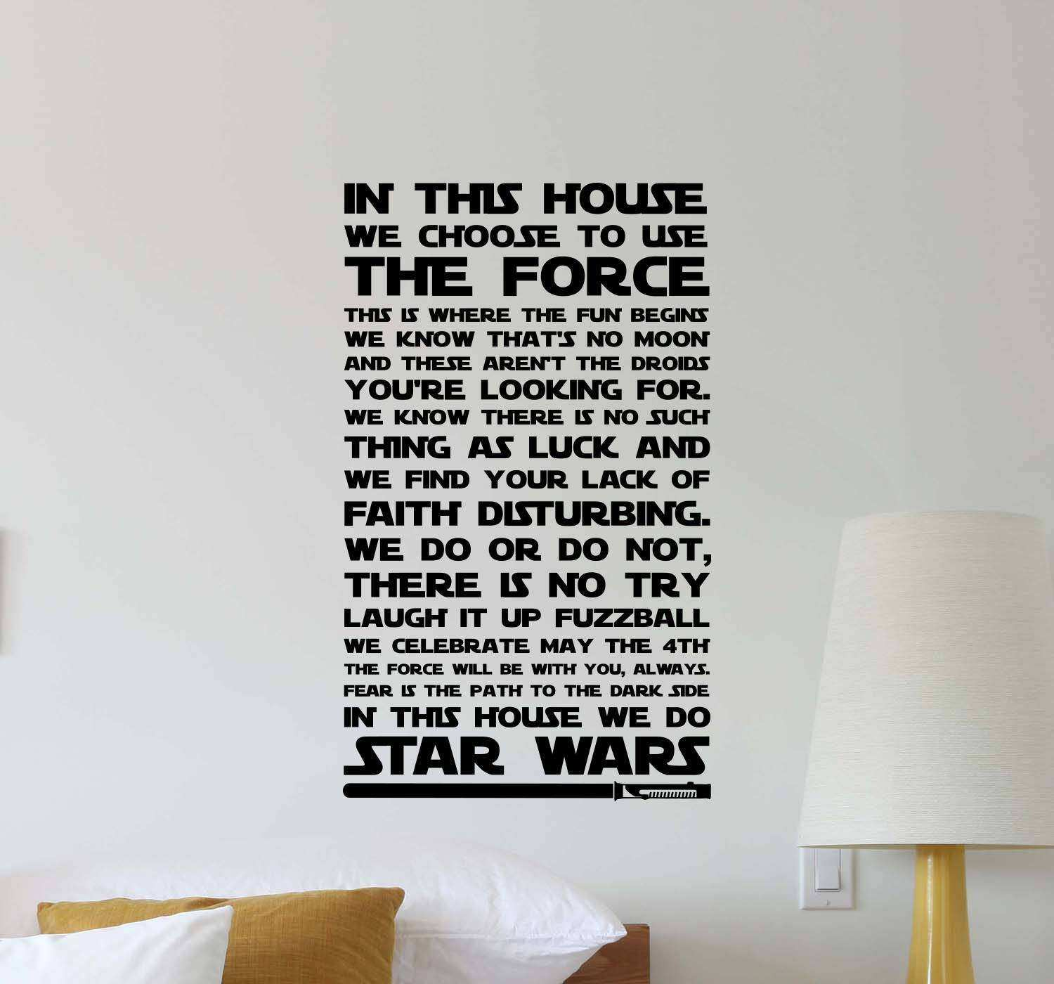 In This House We Do Star Wars Wall Decal Family Quote