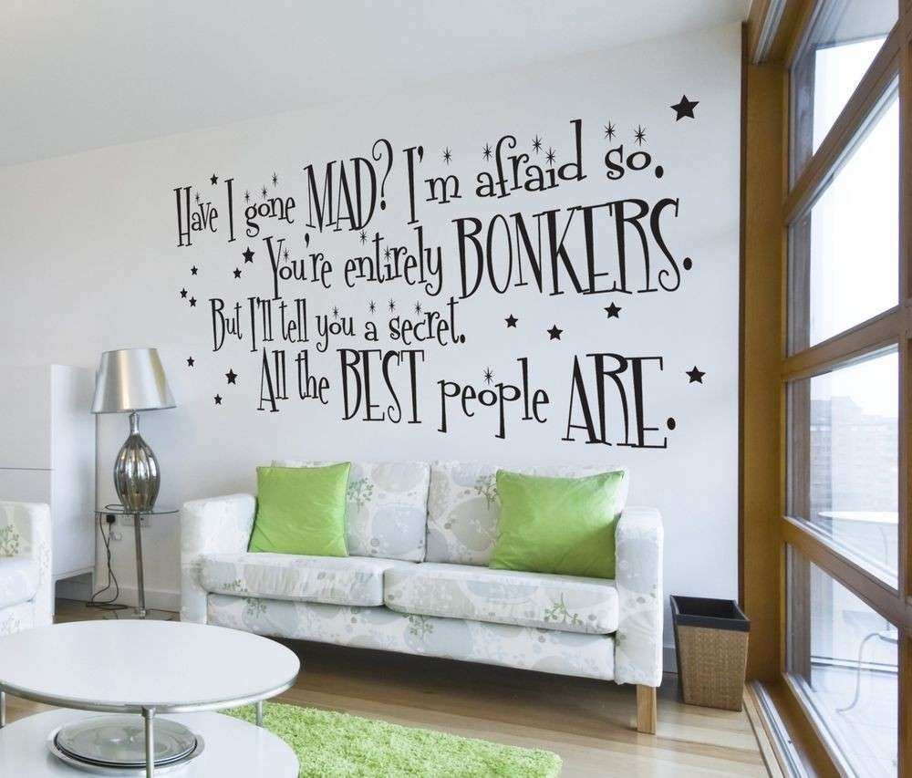 Huge Wall Decor Beautiful Alice In Wonderland Mad Hatter Quote Wall