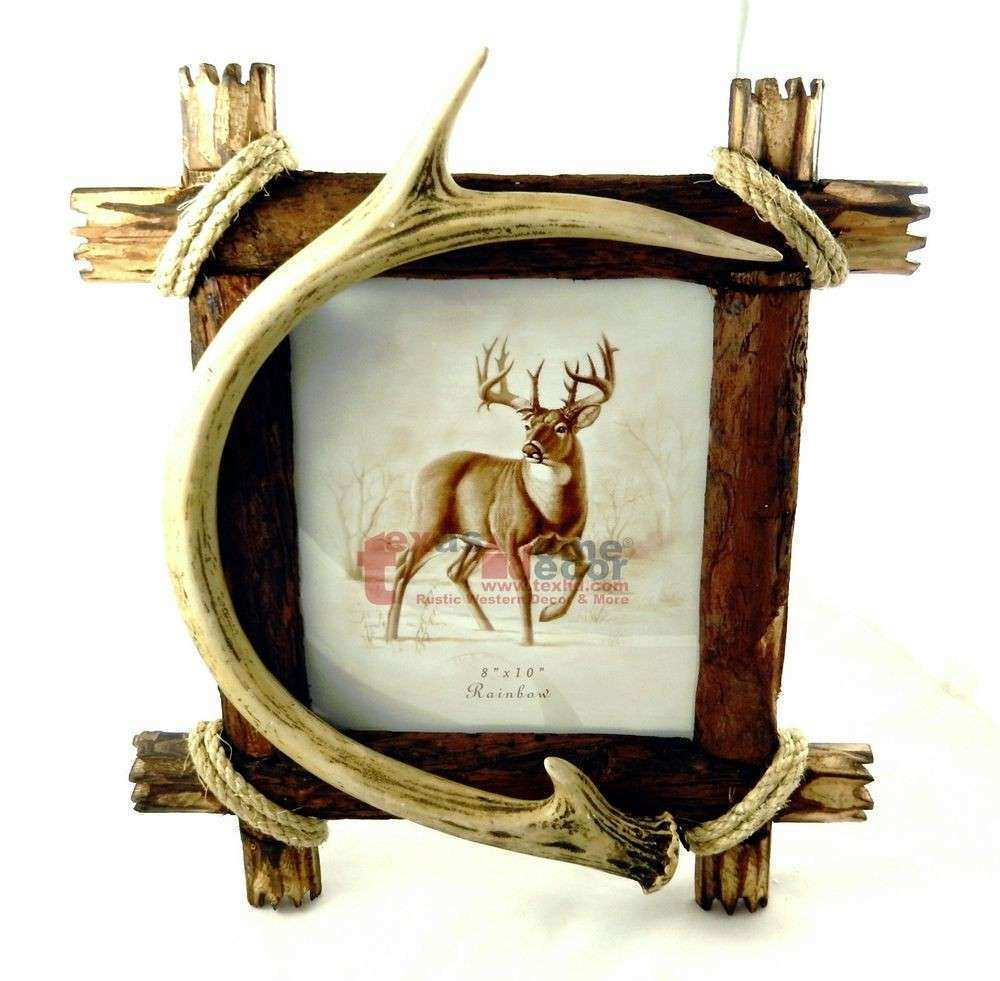 """Antler Cabin Lodge 8""""x10"""" Picture Frame Rope Wooden Body"""