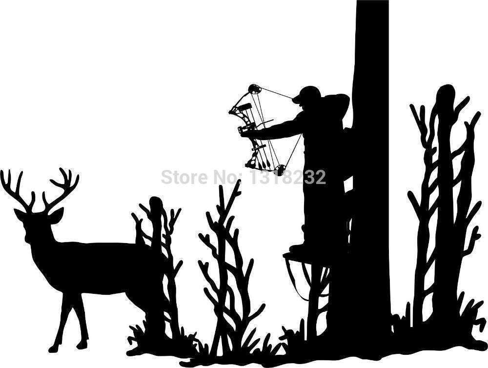 Bow Hunter In Tree Stand Silhouette to Pin on