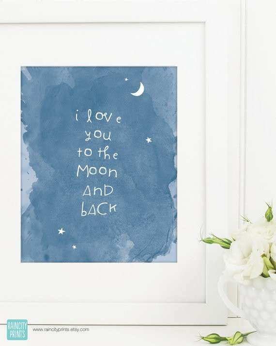I Love You To The Moon And Back Nursery Art Nursery Decor