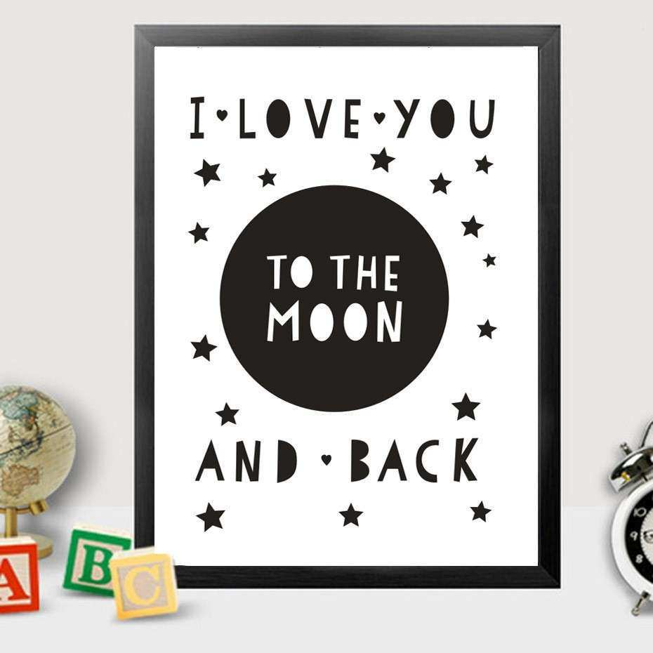 I Love You to the Moon and Back Canvas Painting Nursery